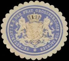 Dresden: Secretariat i.K.H. Frau Grossherzogin von Sachsen Siegelmarke 399913