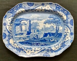 "Genuine Early Spode Blue Italian 18.5"" Platter. 1816-1820. Transferware. Rare."