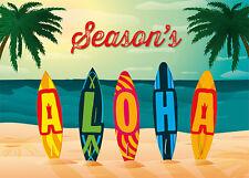 6 Hawaiian Holiday Cards HAWAII Christmas - Holiday Aloha Surfboard with Glitter