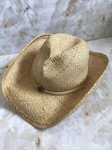 "Shady Brady Natural Raffia Straw Handmade Cowboy Hat Sunburst USA Medium 21"""