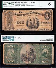 RARE 1st Charter 1875 $1 RUTLAND, VT Vermont National Banknote! PMG 8! FREE SHIP