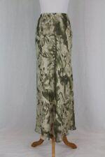 Vintage Adrianna Papell Lillie Rubin Sage Green Floral Silk Chiffon Maxi Skirt 6