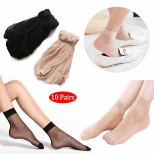 10 Pairs Women's Silky Anti-Slip Ankle Low Tights Hosiery Socks Reinforced Toe