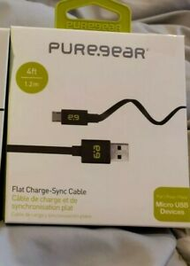 Puregear Micro USB Flat Charge Sync Data Cables 4 FT For Samsung LG HTC Black