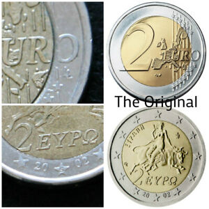 2 Euro 2002 S on star GREEK Very Rare ERRORS Missing Corner of number 2 and O
