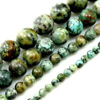 "Natural Gemstone African Turquoise Round Loose Beads 15"" strand 4mm 6 8 10 12mm"