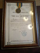 France Ww1 Victory Medal Award Letter Framed With A Belgium Victory Medal