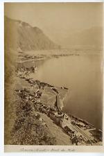 Suisse, Genève et Dent du Midi Vintage albumen print.  Tirage albuminé  16x2