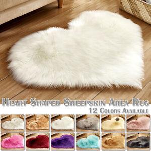 Love Heart Fluffy Mat Area Rug Kids Soft Girls Faux Fur Bedroom Sheepskin Carpet