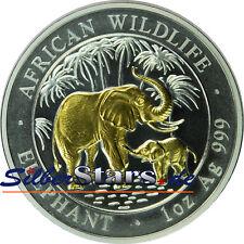 1 OZ Silber African Wildlife - Elefant  Somalia 2007 gilded