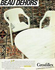 Publicité Advertising 089  1984  Grosfillex  salon de jardin Beau dehors