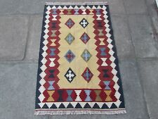 Old Traditional Hand Made Persian Oriental Wool Brown Small Kilim 126x82cm