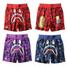 Men Bape A Bathing Ape Shark Head Shorts  Camo Sweatshorts Beach Short Pants
