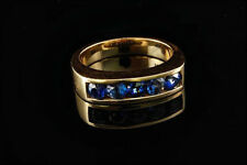1.00 Ct Round Cut Sapphire 5-Stone Mens Wedding Band Ring 14K Yellow Gold