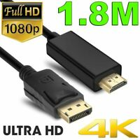 1.8m Displayport DP Male to HDMI Male Cable HD 1080 High Speed Display Port Lead