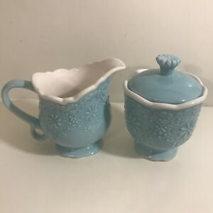 """Pier 1 Imports Ceramic Creamer & Covered Sugar Bowl Set Turquoise White """"Lacy"""""""