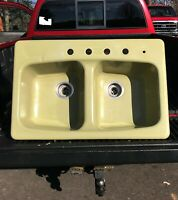 Vintage Cast Iron Kohler Avocado Green Kitchen Sink 2 Basin 1978 retro