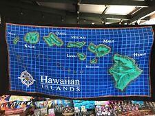 Hawaii Beach Towel Blue And Green Old Hawaii Map