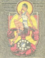 PIN UP GIRL/ART DECO TELEPHONE vintage 70s iron on t shirt transfer NOS