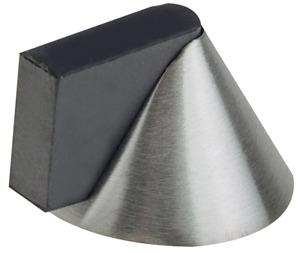 Door Stop Modern Cone Pattern Floor Mounted Satin Stainless Steel & Fixings