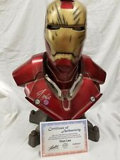 SIDESHOW SIGNED STAN LEE IRON MAN Life SIZE BUST Mark III BATTLE DAMAGED STATUE
