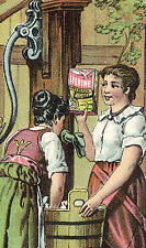 1880's IVORINE SOAP TRADE CARD, HARD WORK, WASHING CLOTHES IN A WOODEN  TUB C726