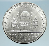 1937 AUSTRIA Karlskirche Church Genuine Silver 2 Shillings Austrian Coin i74937