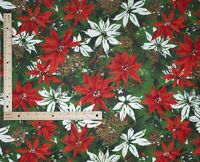 """Vintage Retro Poinsettia Christmas Holiday Quilt Cotton Fabric 2 YARDS X  50""""W"""