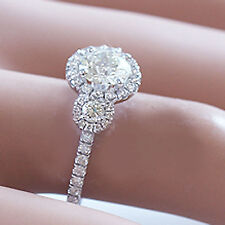Engagement Ring Art Deco Style 2.25Ctw 14K Solid White Gold Round Cut Diamond