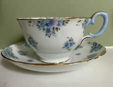 "Crown Staffordshire ""Forget Me Not"" #F14895 Cup & Saucer Blue & Lavender Flowers"