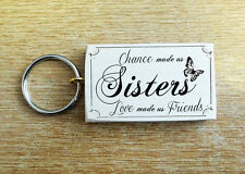 Beautiful Wooden Key Ring Sisters Butterfly Love Friends Gift Keys Present