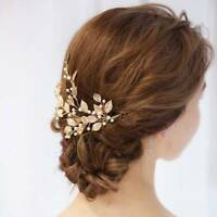 Gold Leaf Branch Pearl Hair Clip Hairpin Tiara Headpiece Bridal Wedding Jewelry