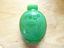 ANTIQUE SPINACH GREEN JADE COLORED CHINESE PEKING GLASS SNUFF BOTTLE
