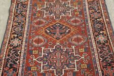Vintage Oriental Geometric Gharajeh Area Rug Wool Hand-Knotted Red Carpet 4x4