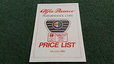 June 1988 ALFA ROMEO 33 / 75 / SPRINT UK PRICE LIST BROCHURE Westaway Motors