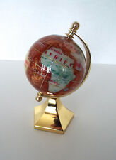 "Miniature Globe 3"" Rotates Gold Tone Accents Terra Cotta Jewel Tones Stand"