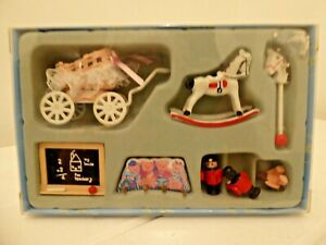DOLLS HOUSE MINIATURES NURSERY TOY SET IN BOX SCALE 1/12