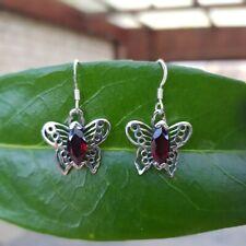 925 Silber Ohrhänger Schmetterling mit Granat-Navette