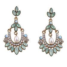 Art Deco Gatsby Old Glamour Mini Chandelier Earrings Blue Crystal