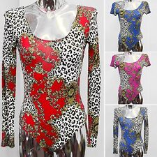 WOMENS LEOPARD CHAIN BAROQUE PRINT BODYSUIT LEOTARD LADIES FANCY DRESS PARTY TOP