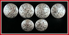 "Saddle Set >> 4 - 1 1/2"" & 2 - 1"" Hand Engraved Silver Conchos              #29"