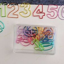 5 Box  Number Paper Clips Metal Multicolor Bookmark Reading Office Stationery