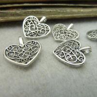 10 Stücke Tibet Silber Antiksilber Platt Herzen Anhänger Charms Beads 16x14mm