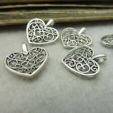 """10PCS Lot Silver Plated Made With Peach Heart Flowers 0.35"""" Pendants Beads DIY N"""