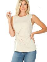 FDPlus Women's Taupe Plus Size ITY Knot-Front Sleeveless Top Blouse 1x, 2x, 3x