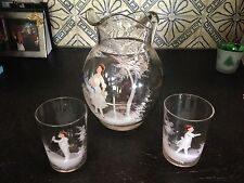 Antique Mary Gregory Hand Painted Glass Pitcher and Two Tumblers !Beautiful!