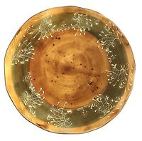 Ambiance St Remy White Scrolls Green Brown Rustic Fall Dinner Plate Gorgeous