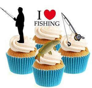 Novelty I Love Fishing Mix 12 Edible Stand Up wafer paper cake toppers birthday