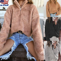 Women Zipper Warm Hooded Fluffy Coat Fleece Fur Jacket Outerwear Sweater Hooded