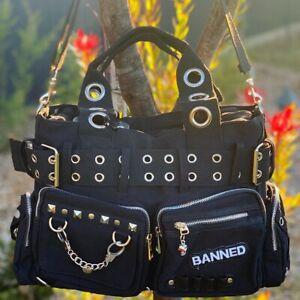 Banned Handcuff Studded Shoulder Bag Alternative Punk Gothic Skull Indie Handbag